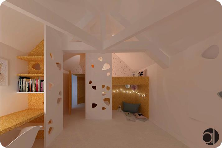 aménagement intérieur osb chambre fille