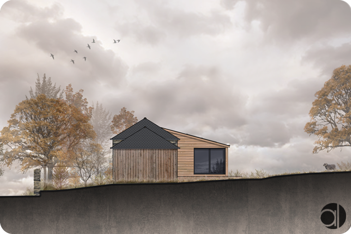 extension bois sur une maison en pierres à plechatel